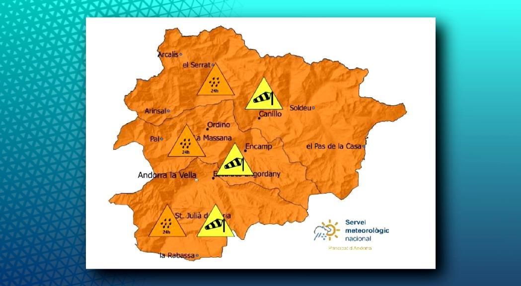 Alerta taronja per fortes pluges a partir de la matinada d'aquest dimarts