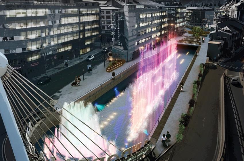 Els arquitectes de la nova font de llum i colors es desmarquen de la proposta descartada el 2015