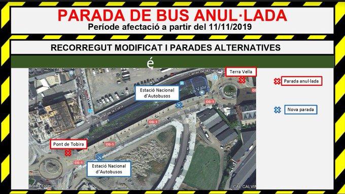 Canvis en les parades de bus exprés properes a l'Estació Nacional d'Autobusos
