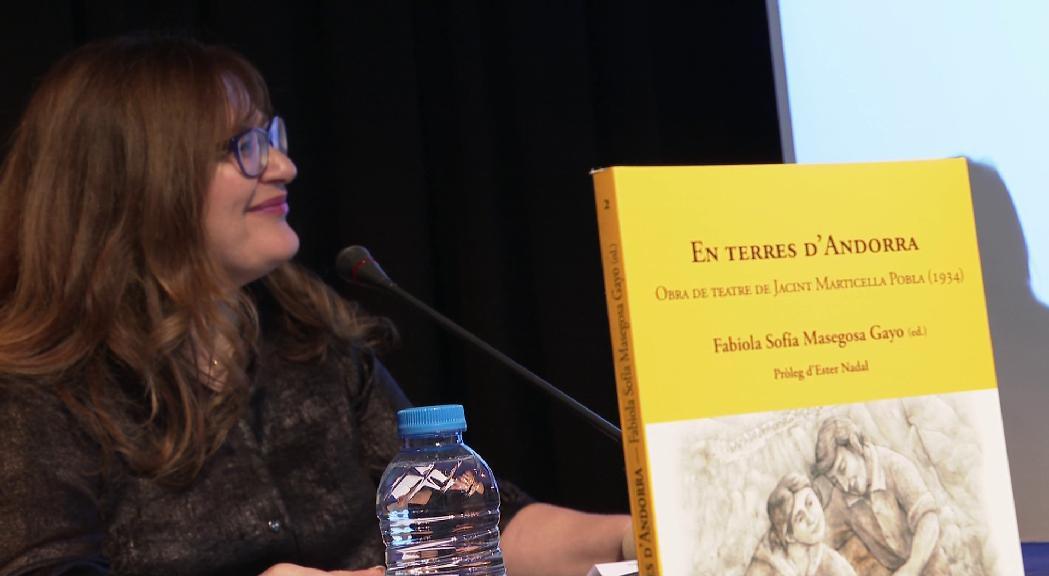 """Fabiola Masegosa presenta """"En terres d'Andorra"""", una adaptació de la tesi sobre la primera obra de teatre d'un autor andorrà"""