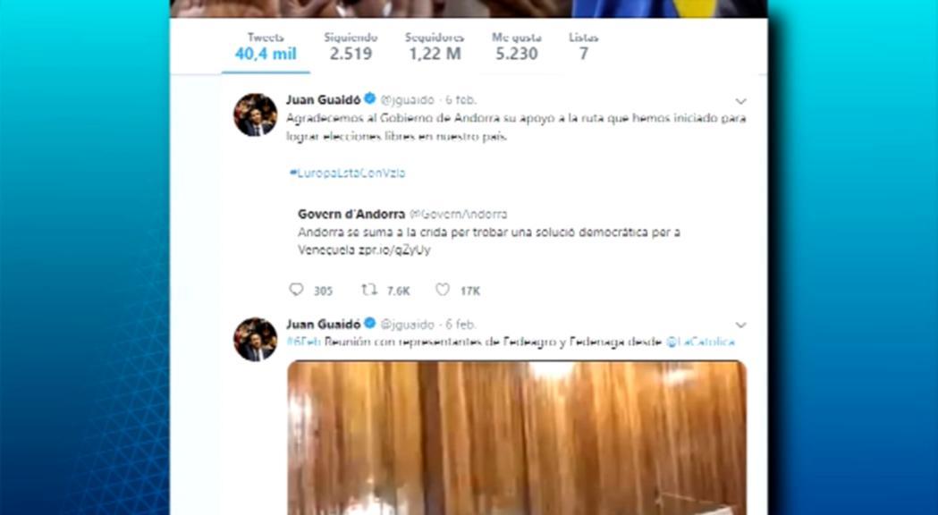 Juan Guaidó ha agraït públicament a trav&eacut