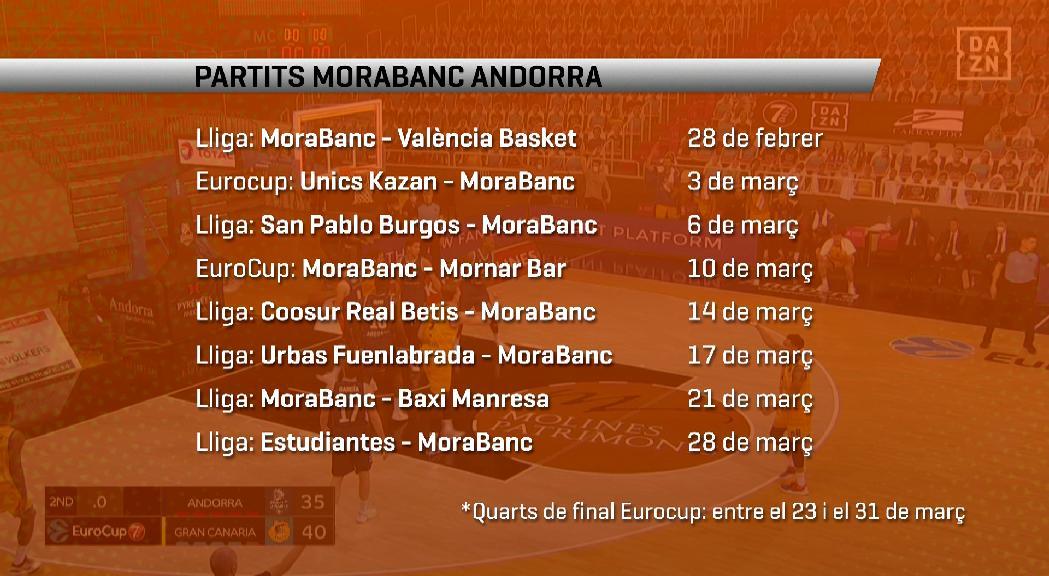El MoraBanc inicia diumenge contra el València una marató de partits