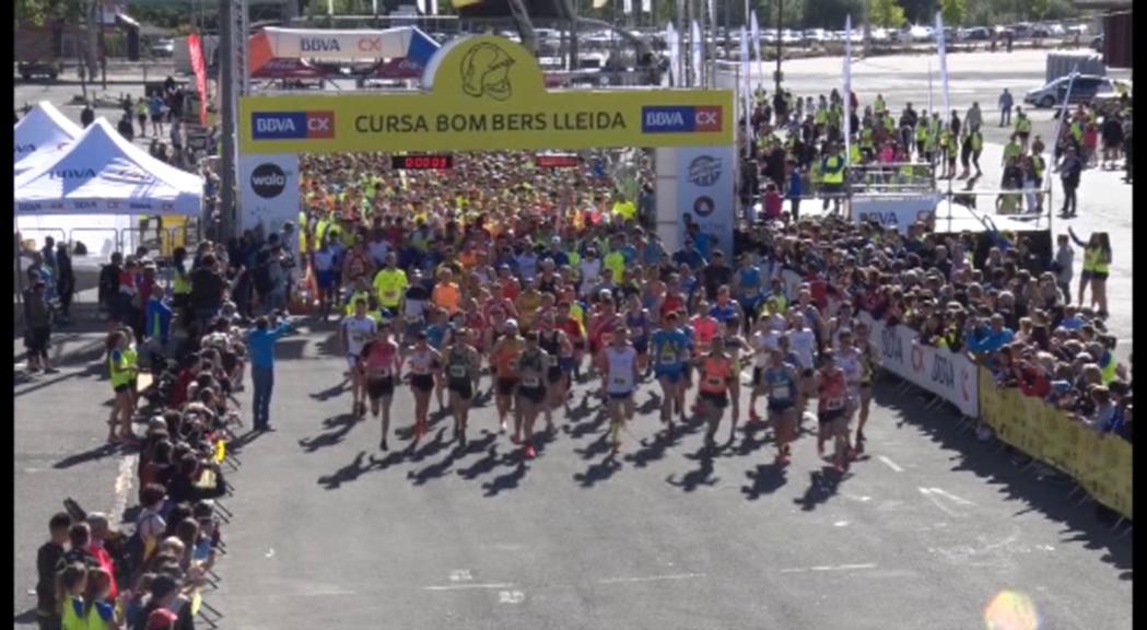 Podis de Marcos Sanza i Xènia Mourelo a la cursa dels Bombers de Lleida