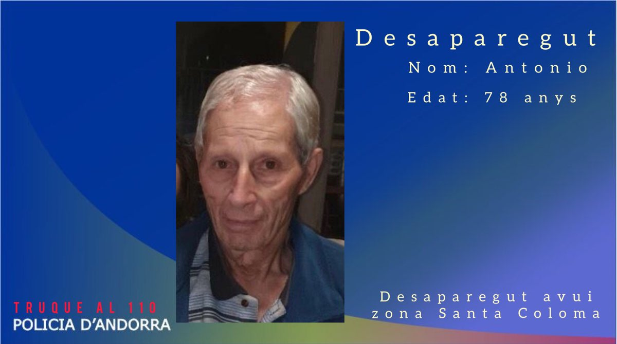 La policia demana la col·laboració ciutadana per trobar un home de 78 anys amb Alzheimer desaparegut a Santa Coloma