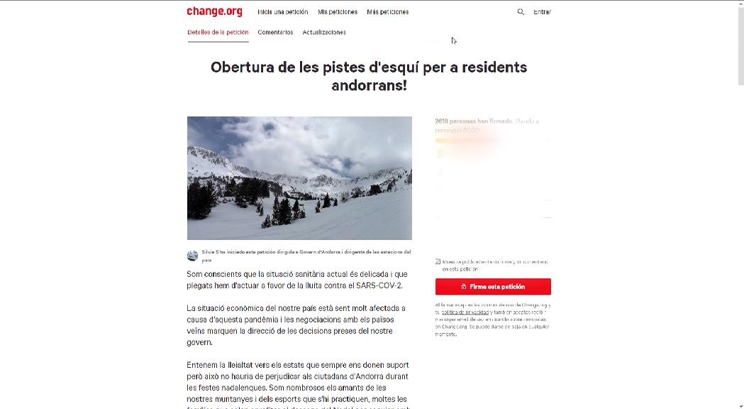 Prop de 3.000 persones ja han signat una iniciativa perquè les pistes d'esquí obrin per als ciutadans d'Andorra