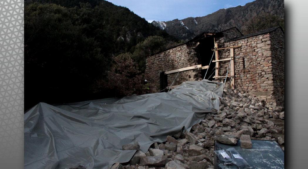 Protegeixen l'església de Sant Vicenç d'Enclar per evitar que es degradi abans de la reconstrucció