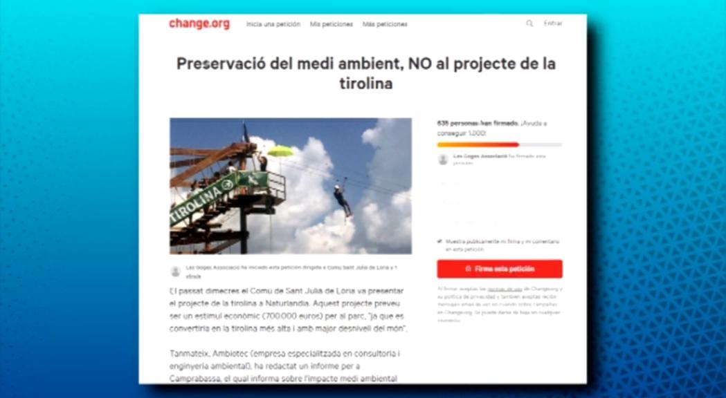 Recull de firmes per aturar el projecte de la tirolina a Naturlàndia