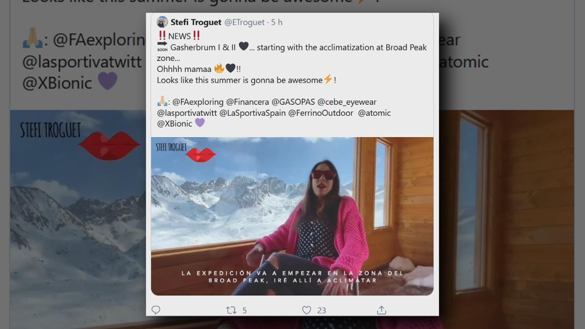 Troguet anuncia una expedició per coronar els cims del Gasherbrum I i II