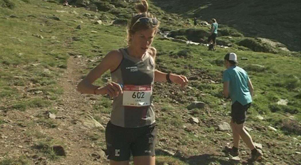 Laura Orgué i els germans Teixidó, a la Marató de les valls de Canillo