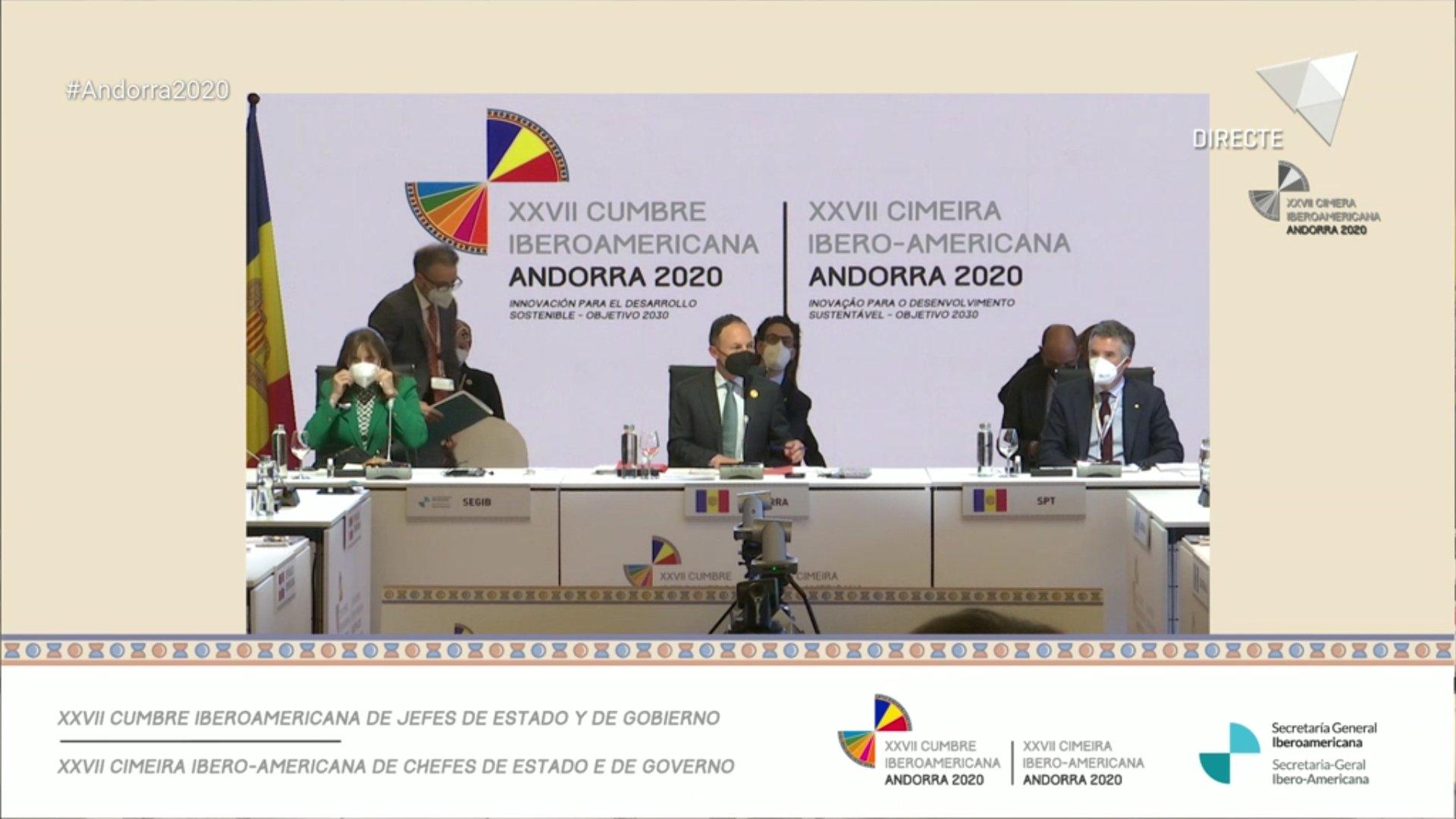 Sessió plenària de la XXVII Cimera Iberoamericana de caps d'Estat i de Govern Andorra 2020